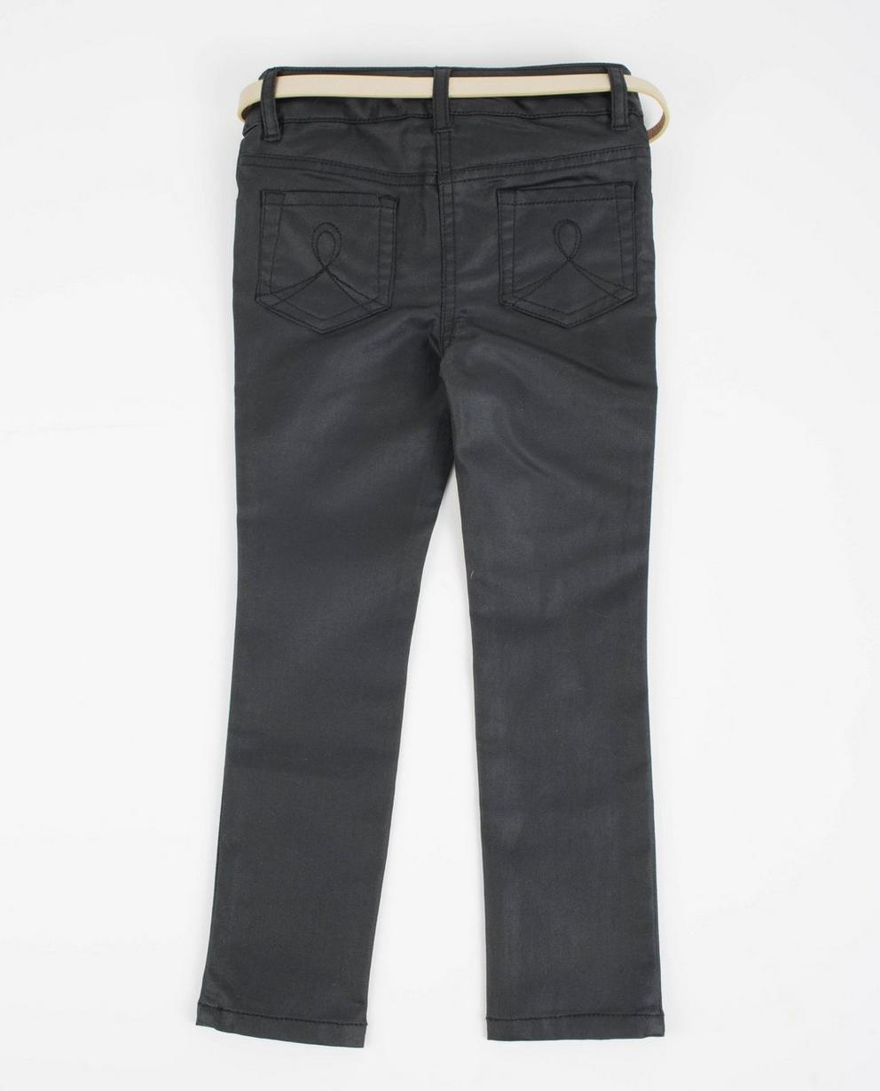 Hosen - Schwarz - Zwarte gecoate jeans met riempje